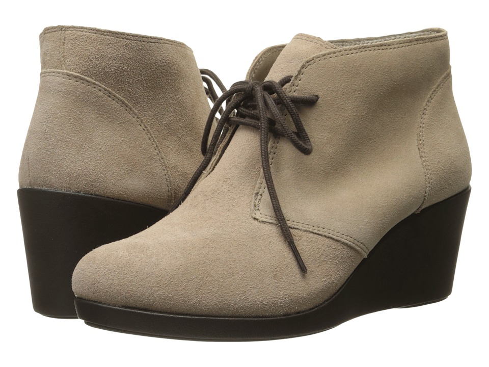 Crocs - Leigh Suede Wedge Shootie (Tan) Women's Boots