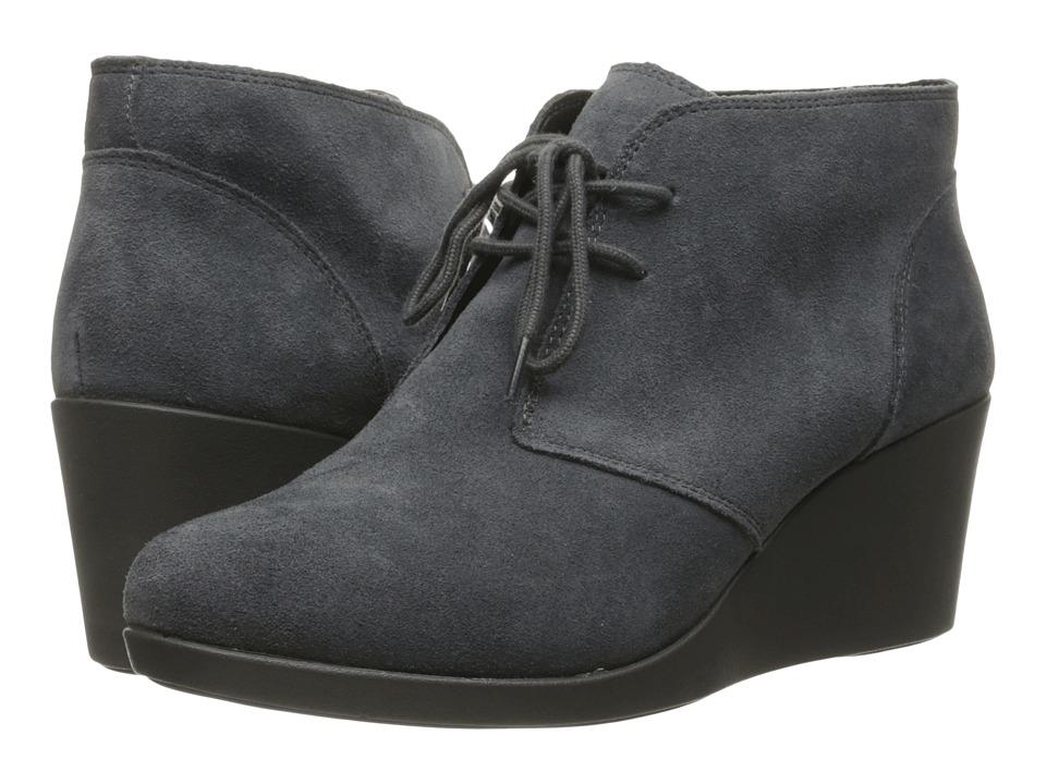 Crocs Leigh Suede Wedge Shootie (Grey) Women's Boots