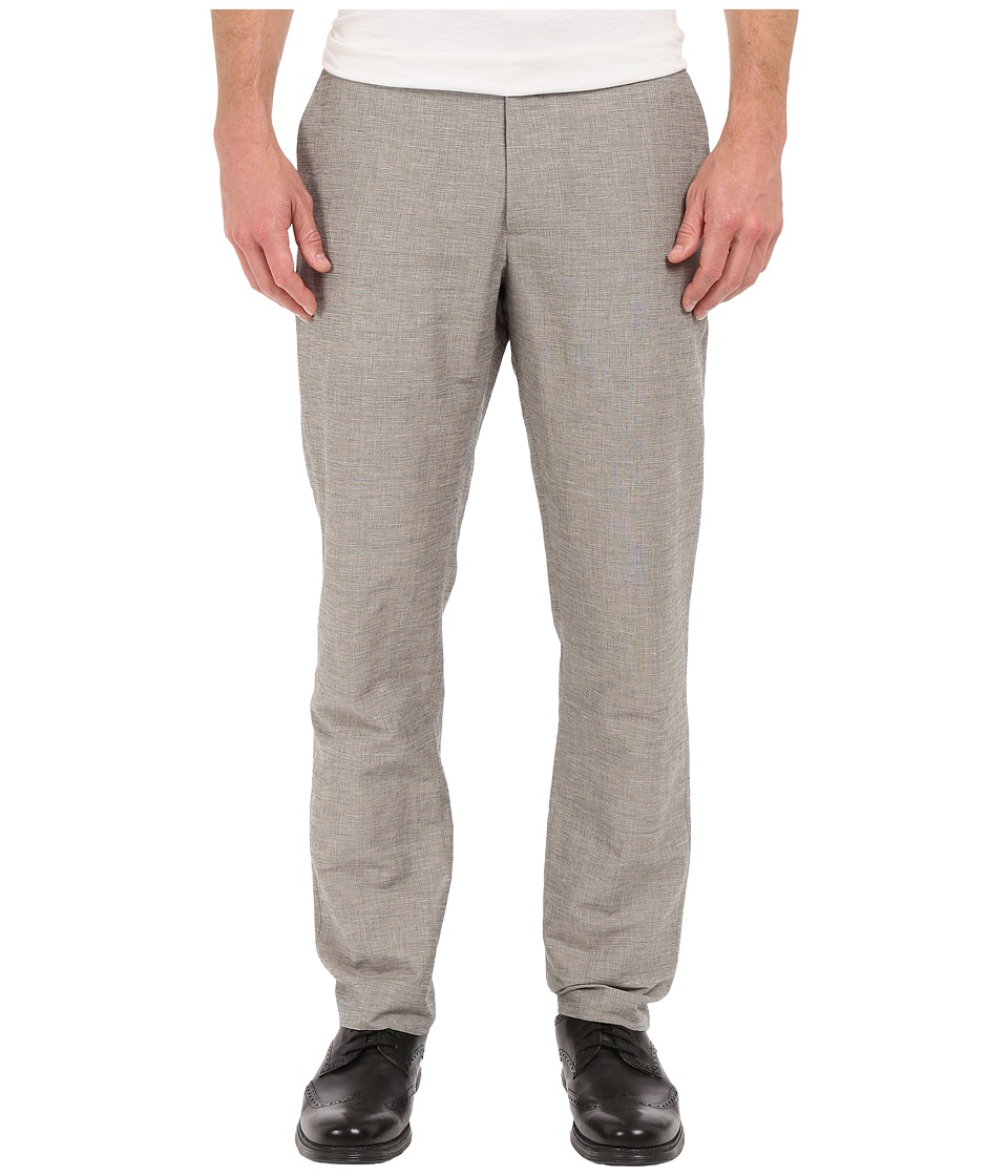 Perry Ellis - Slim Fit Linen Cotton End on End Flat Front Pants (Alloy) Men's Casual Pants