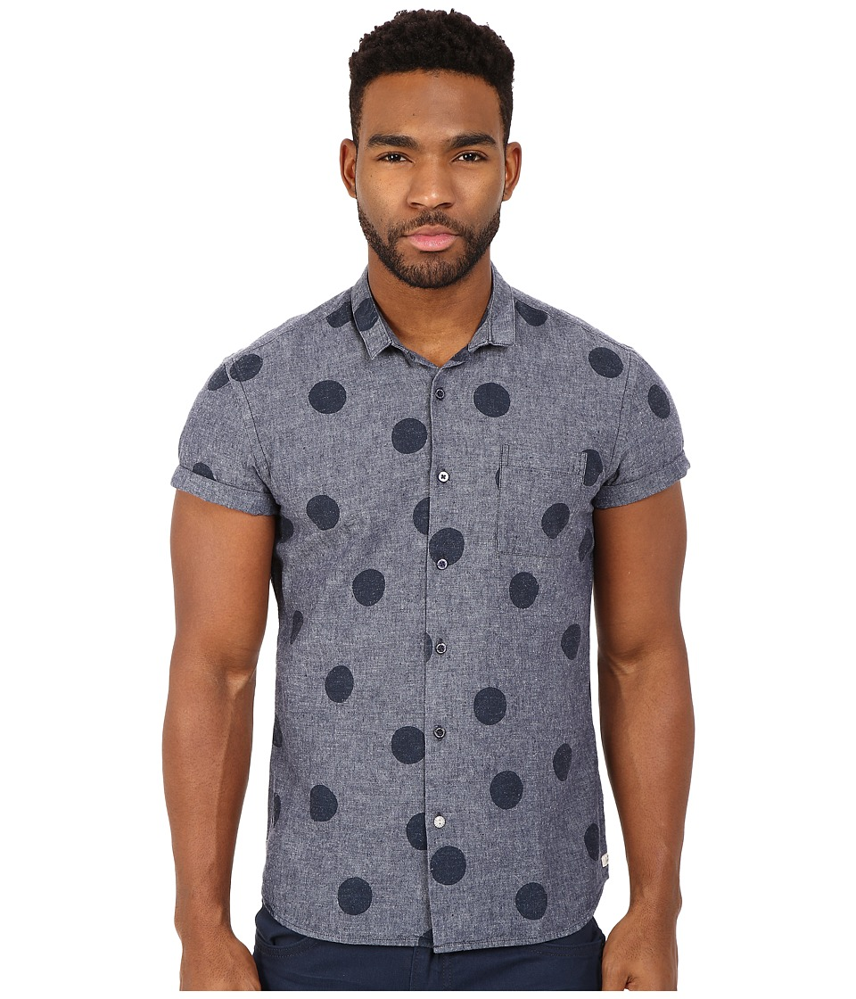 Scotch & Soda - Short Sleeve All Over Print Shirt (Blue Heather) Men's Short Sleeve Button Up