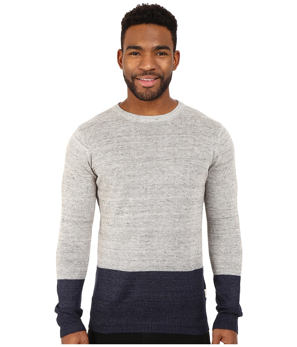 Scotch & Soda - Home Alone Linen Mix Two-Tone Kint (Heather Grey) Men's Sweater