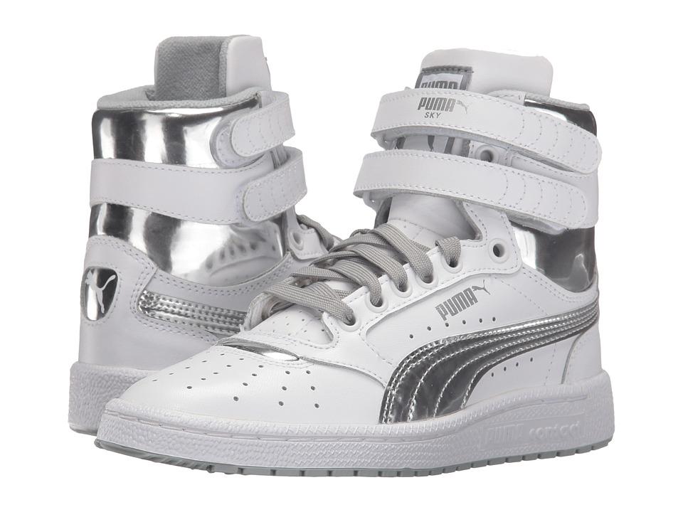 Puma Kids Sky II Hi Foil Jr (Big Kid) (Puma White/Puma Silver) Boys Shoes