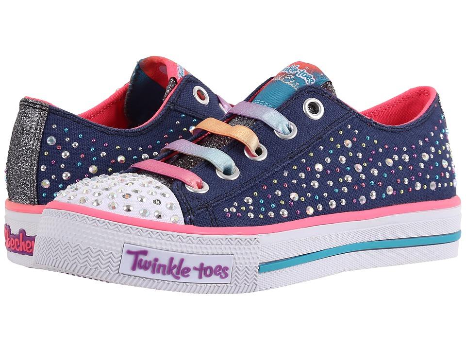 SKECHERS KIDS - Shuffles - 10627L Lights (Little Kid/Big Kid) (Navy/Multi) Girl's Shoes