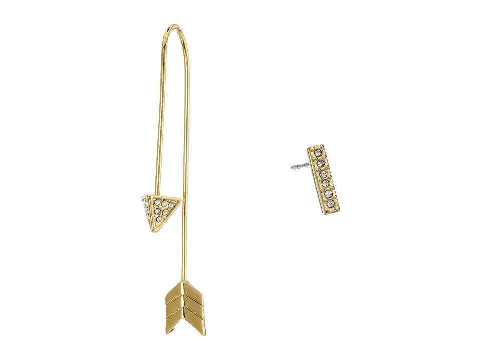 Rebecca Minkoff - Arrow/Stud Mismatch Earrings (12K with Crystal) Earring