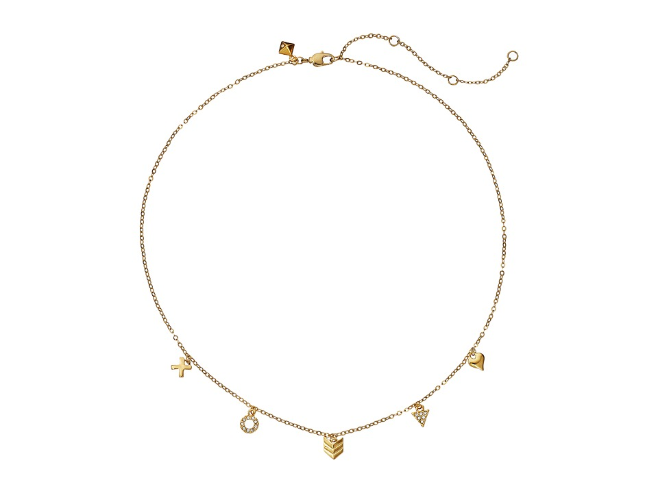Rebecca Minkoff - XOXO Charm Necklace (12K with Crystal) Necklace