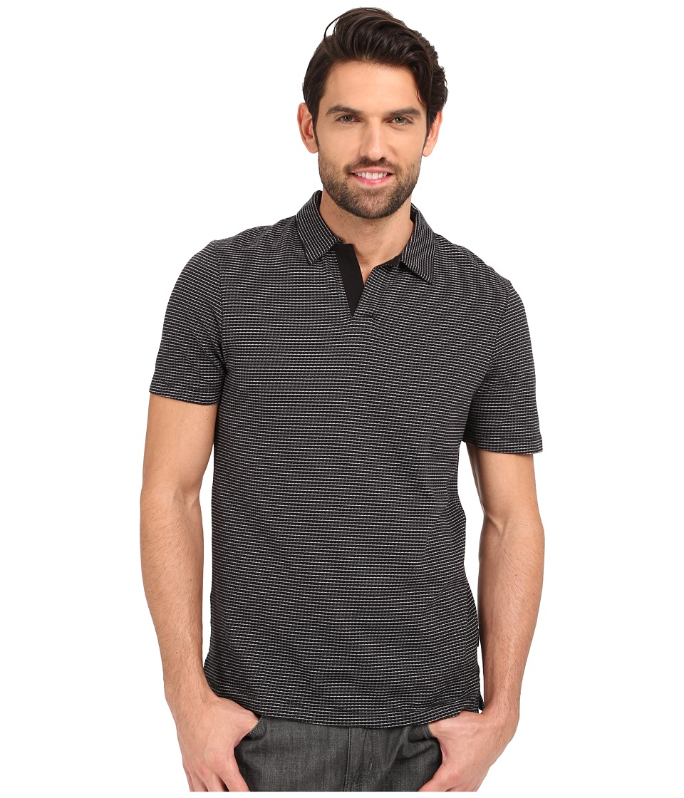 Perry Ellis - Open Collar Jacquard Polo (Black) Men's Clothing