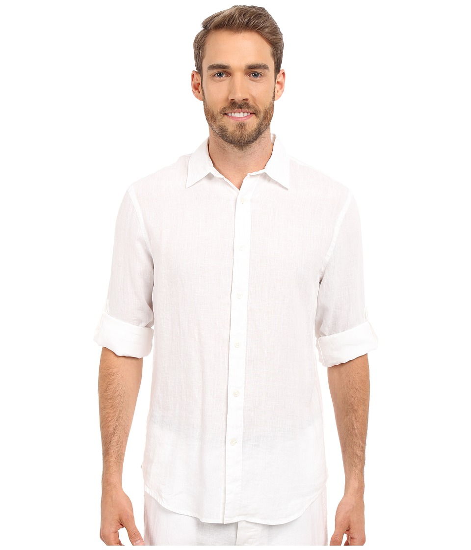 Perry Ellis - Rolled Sleeve Solid Linen Shirt (Bright White 1) Men's Clothing