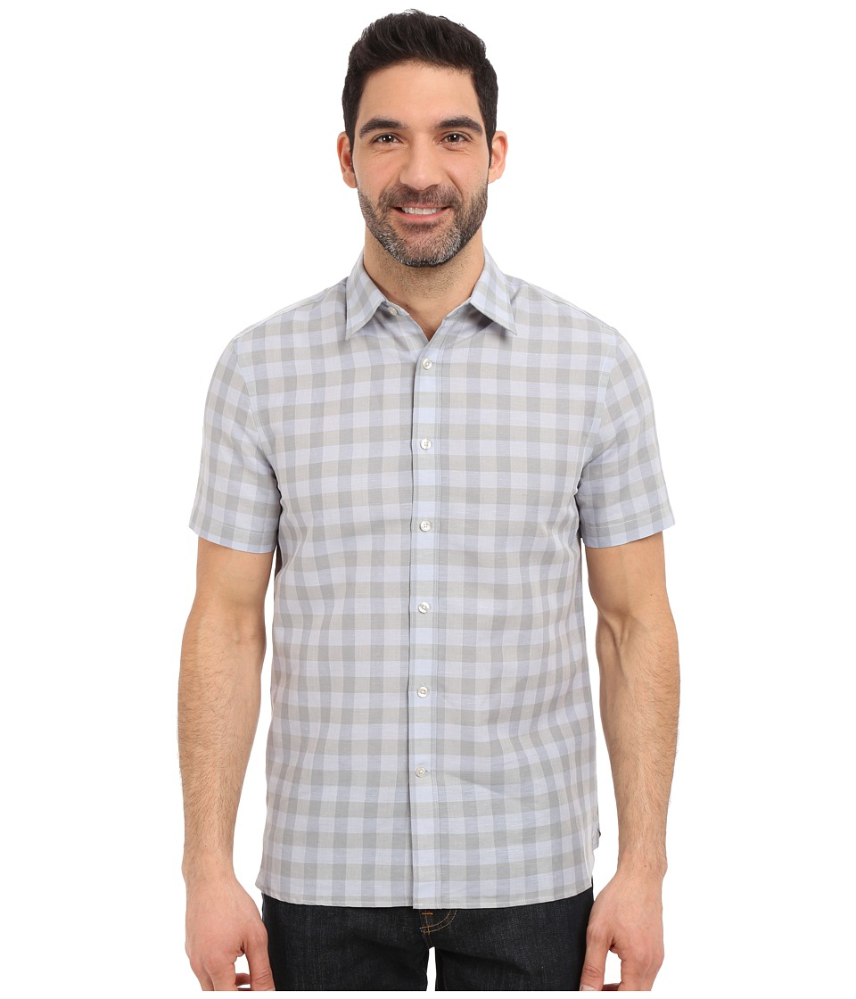 Perry Ellis - Linen Cotton Check Pattern Shirt (Quarry) Men's Clothing