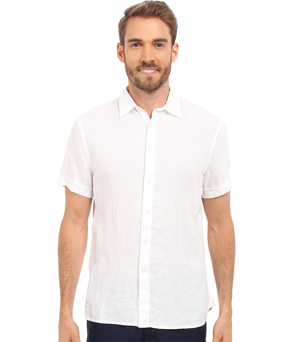 Perry Ellis - Short Sleeve Solid Linen Shirt (Bright White 1) Men's Short Sleeve Button Up