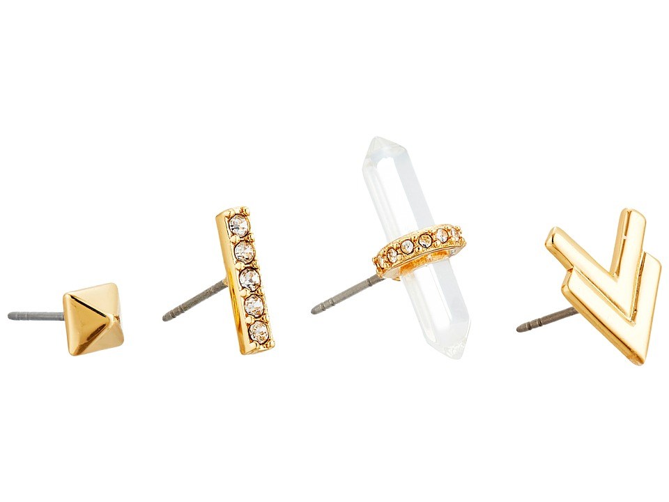 Rebecca Minkoff - Raw Crystal Set of Four Earrings (12K with Crystal) Earring