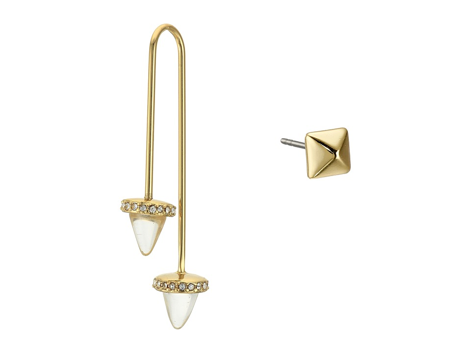 Rebecca Minkoff - Acorn Crystal Threader/Stud Mismatch Earrings (12K with Crystal) Earring