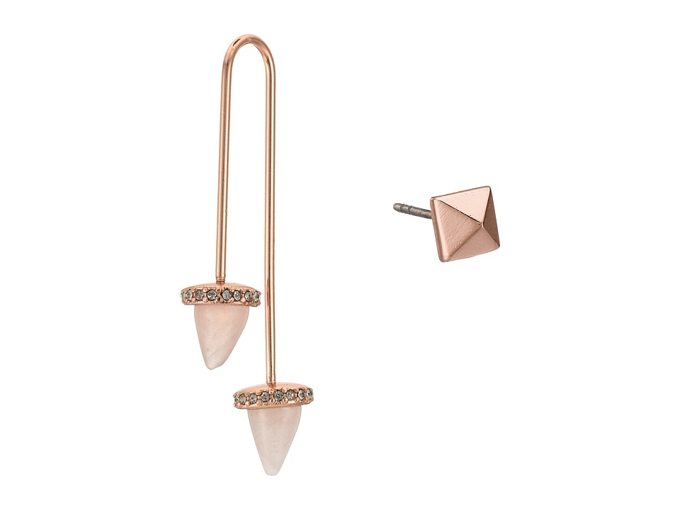Rebecca Minkoff - Acorn Crystal Threader/Stud Mismatch Earrings (Rose Gold with Rose Quartz) Earring