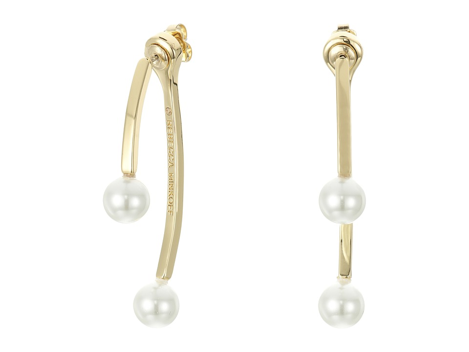 Rebecca Minkoff - Bead Front/Back Hoop Earrings (12K with Pearl) Earring