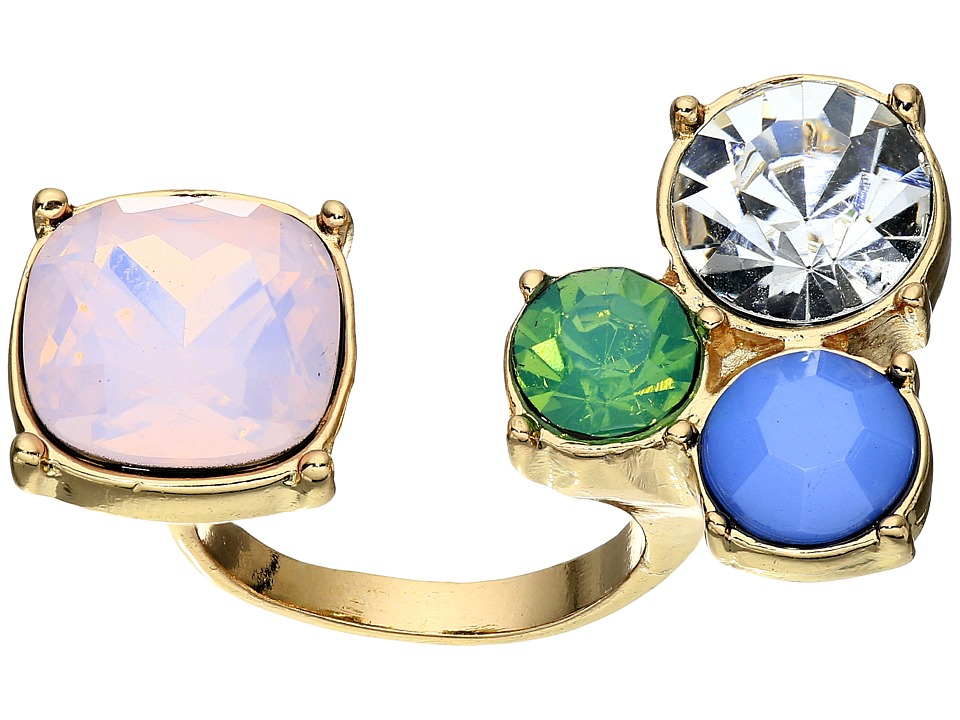 GUESS - Stone Cluster and Stone Two Finger Ring (Gold/Multicolor) Ring