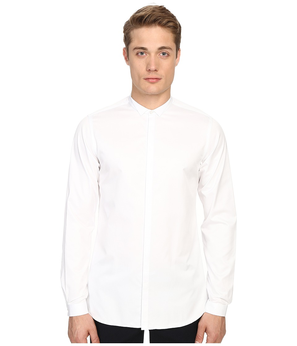 The Kooples - Smart Twill Stand-Up Collar Shirt (White) Men's Long Sleeve Button Up