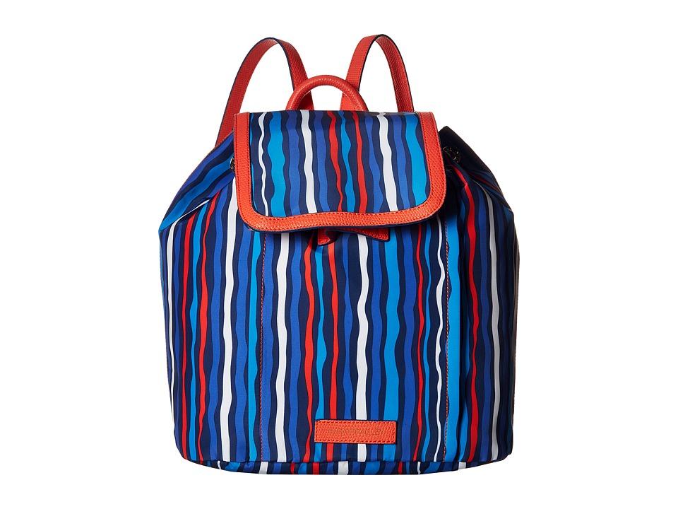 Vera Bradley - Preppy Poly Backpack (Cobalt Stripe) Backpack Bags