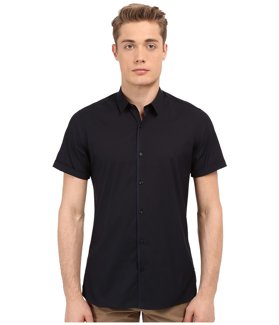 The Kooples - Paper Popeline Short Sleeve Shirt (Navy) Men's Short Sleeve Button Up