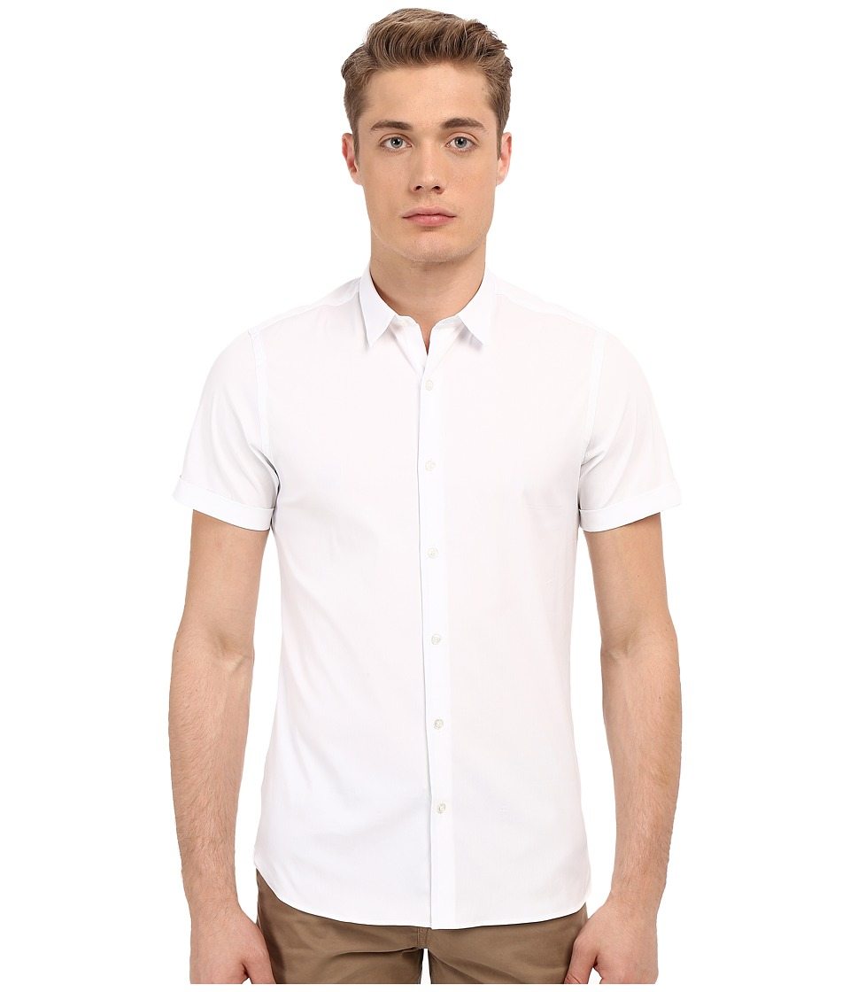The Kooples - Paper Popeline Short Sleeve Shirt (White) Men's Short Sleeve Button Up