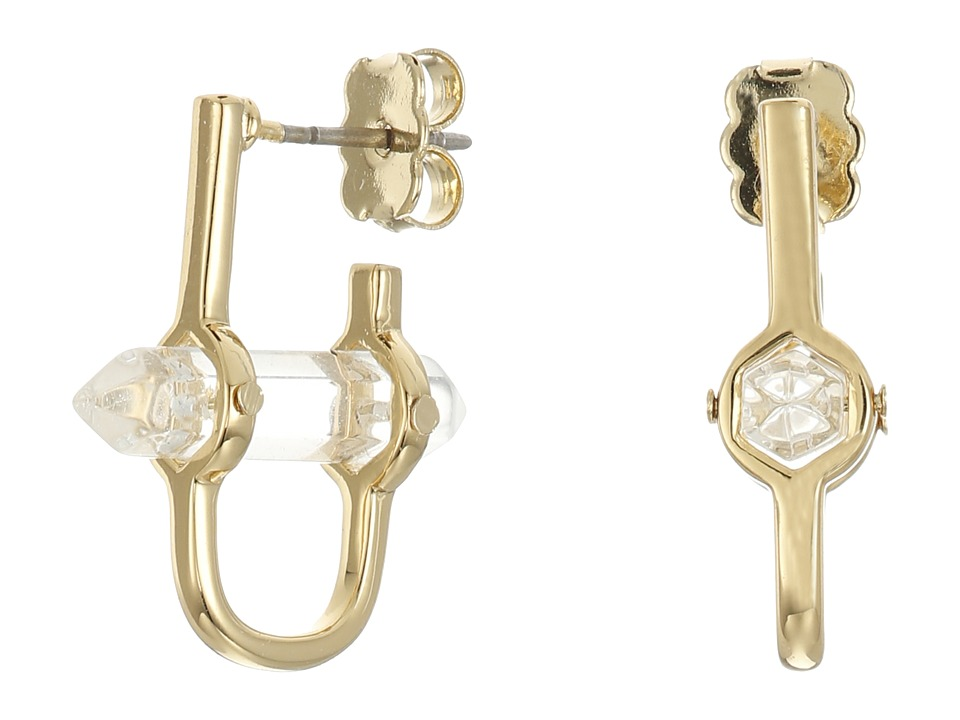 Rebecca Minkoff - Raw Crystal Huggie Earrings (12K with Crystal) Earring