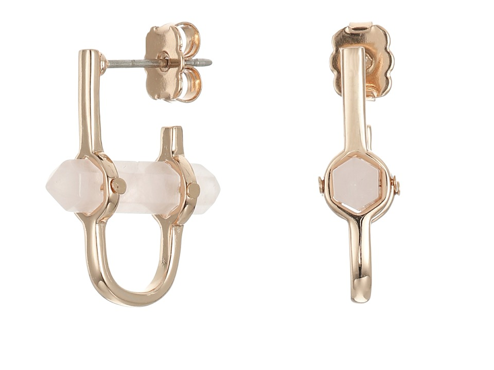 Rebecca Minkoff - Raw Crystal Huggie Earrings (Rose Gold with Rose Quartz) Earring