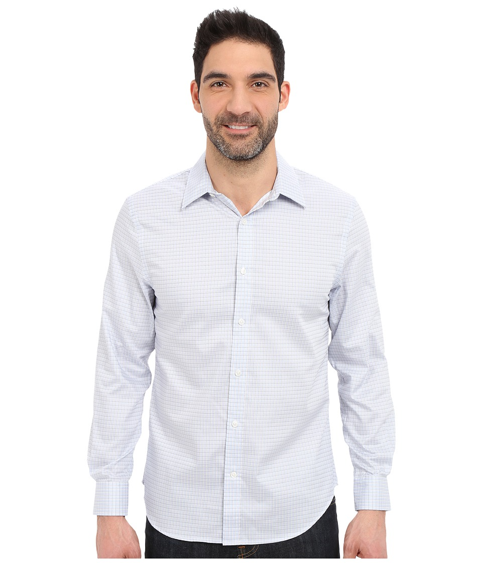 Perry Ellis - Long Sleeve Grid Check Non-Iron Shirt (Kentucky Blue) Men's Long Sleeve Button Up