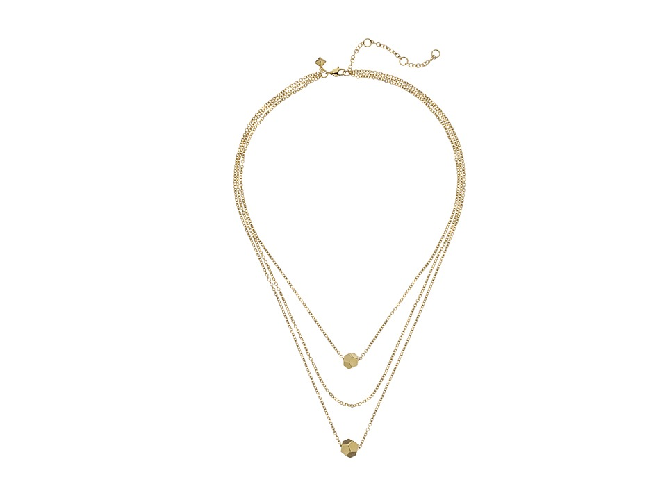 Rebecca Minkoff - Layered Cube Necklace (12K) Necklace