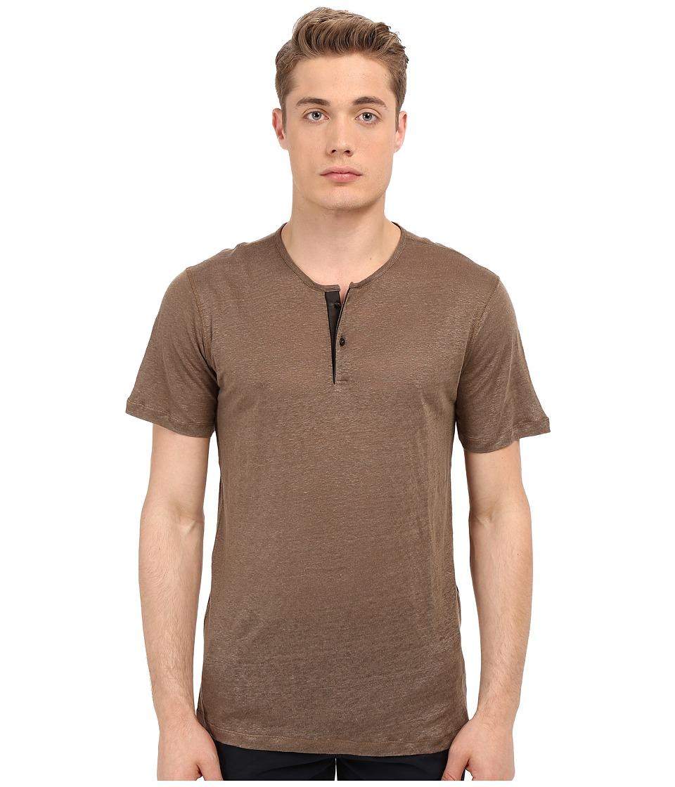 The Kooples - Thin Linen Jersey Henley (Beige) Men's T Shirt