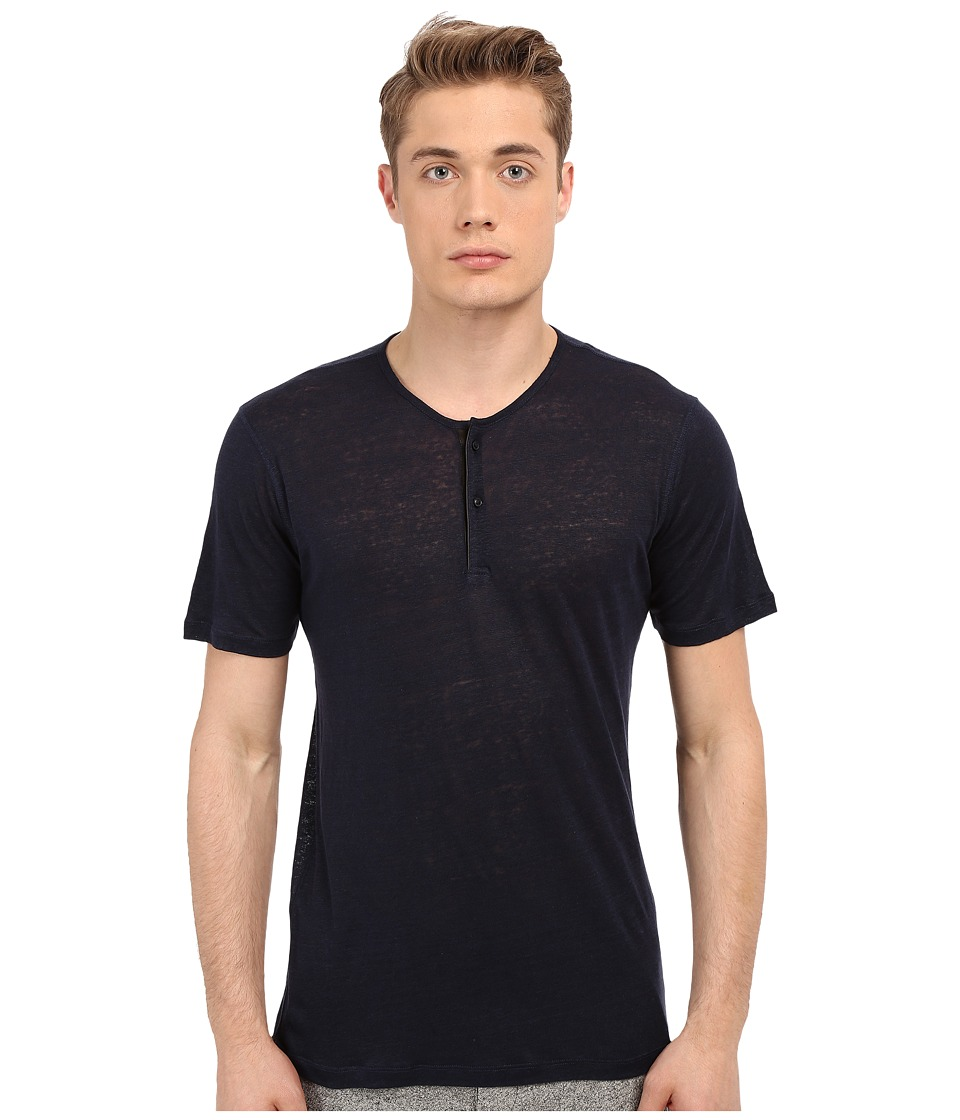 The Kooples - Thin Linen Jersey Henley (Navy) Men's T Shirt