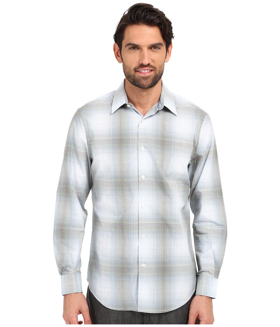Perry Ellis - Large Ombre Plaid Pattern Shirt (Dark Ivy) Men's Clothing