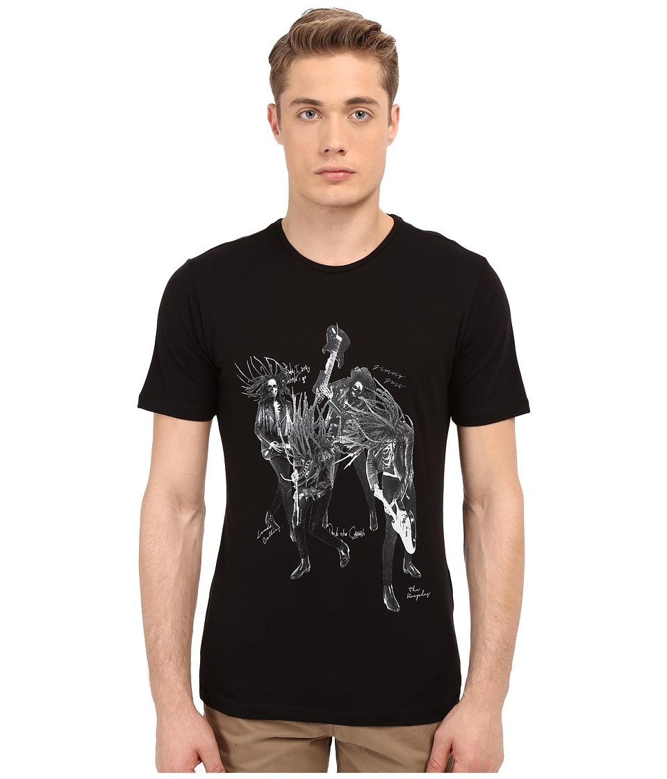 The Kooples - Cotton Printed Jersey Tee (Black) Men's T Shirt