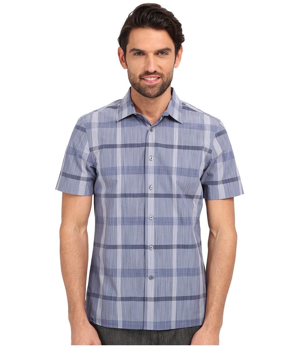 Perry Ellis - Slim Fit Space Dye Plaid Pattern Shirt (Bering Sea) Men's Clothing