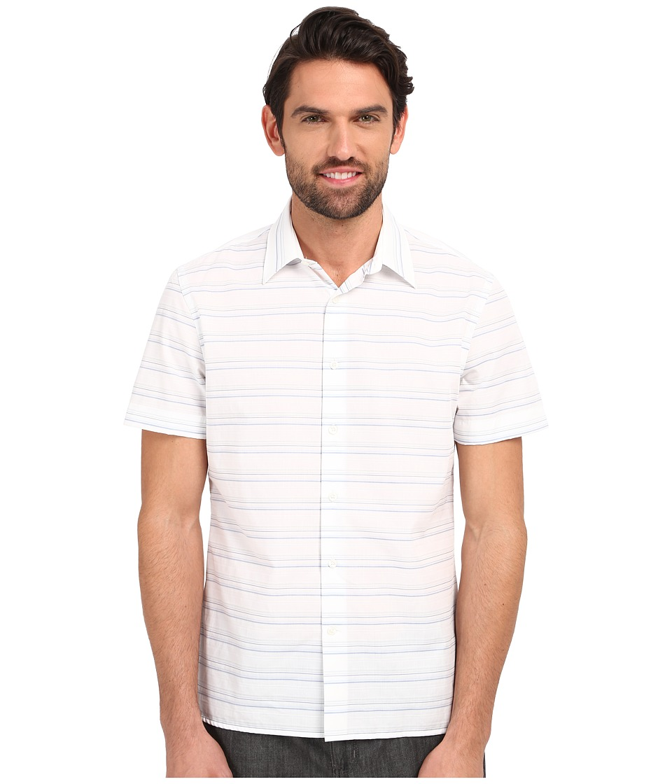 Perry Ellis - Horizontal Textured Stripe Shirt (Bright White) Men's Short Sleeve Button Up