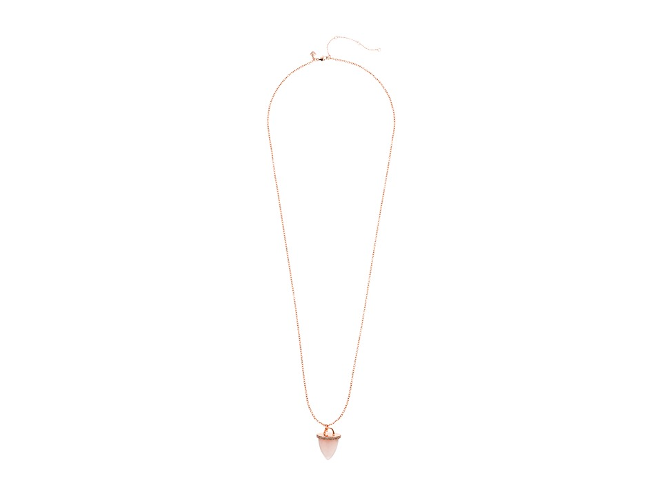 Rebecca Minkoff - Acorn Long Pendant Necklace (Rose Gold with Rose Quartz) Necklace