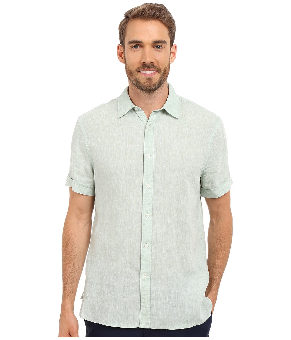 Perry Ellis - Short Sleeve Solid Linen Shirt (Smoke Green) Men's Short Sleeve Button Up