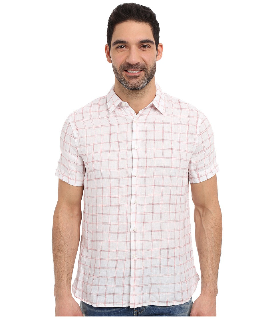 Perry Ellis - Linen Check Pattern Shirt (Bossa Nova) Men's Clothing
