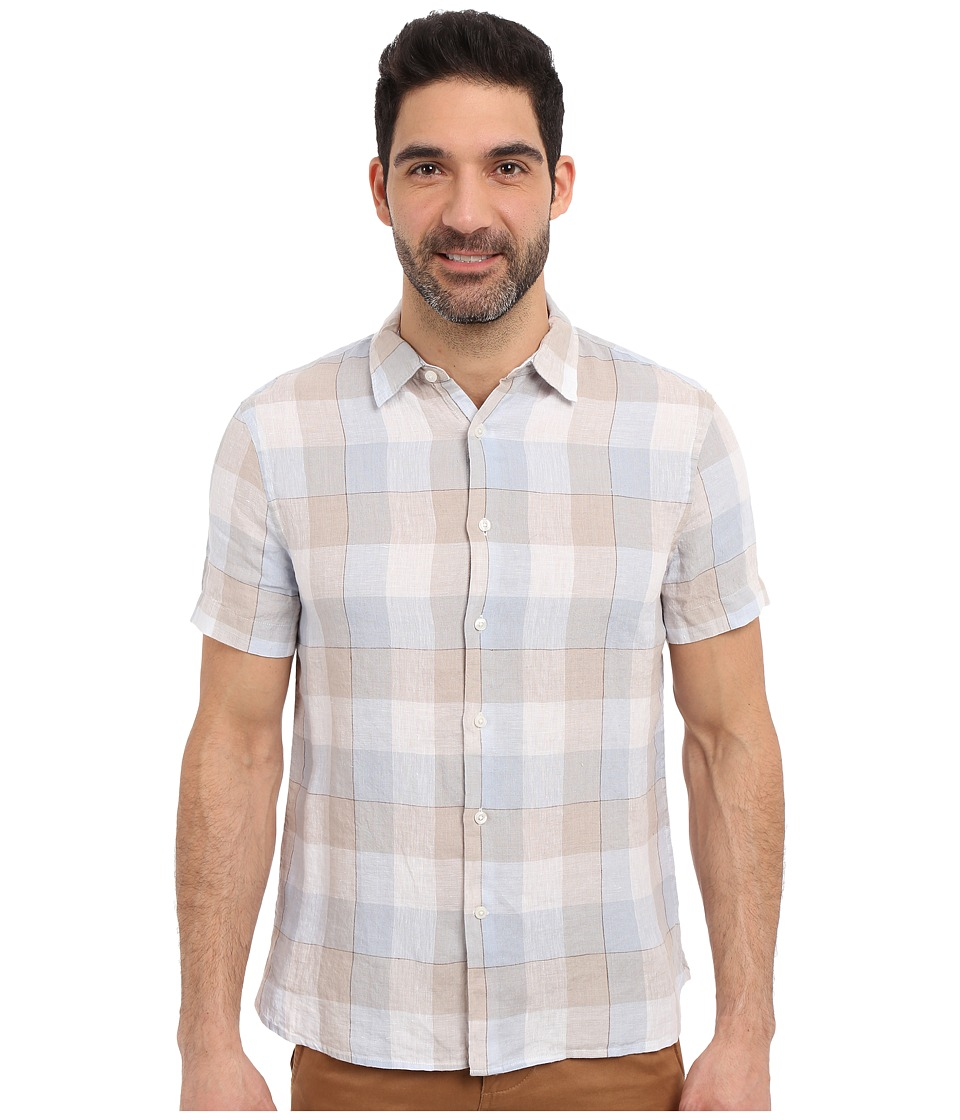 Perry Ellis - Linen Buffalo Check Pattern Shirt (Silver Lining) Men's Clothing