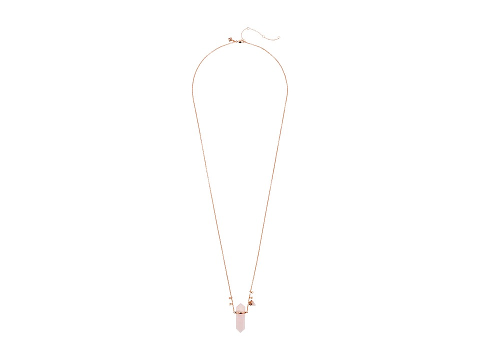 Rebecca Minkoff - Raw Crystal Long Pendant Necklace (Rose Gold with Rose Quartz) Necklace