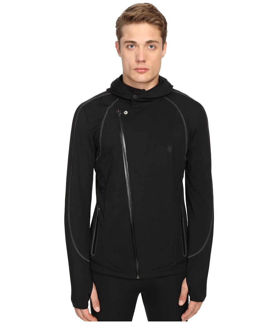 The Kooples - Sport Polyester Spandex Jersey Jacket (Black) Men's Coat