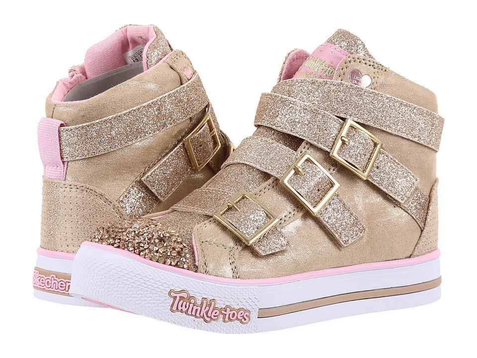 SKECHERS KIDS - Step Up 10648L Lights (Little Kid/Big Kid) (Gold/Pink) Girl's Shoes