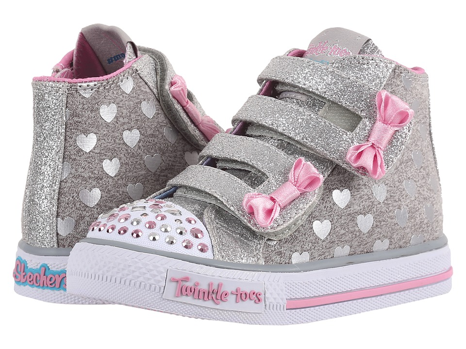 SKECHERS KIDS - Doodle Days 10659N Lights (Toddler/Little Kid) (Grey/Pink) Girl's Shoes