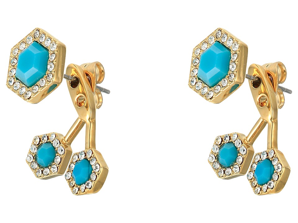 Rebecca Minkoff - Pave Gem Fan Back Earrings (12K with Turquoise and Crystal) Earring
