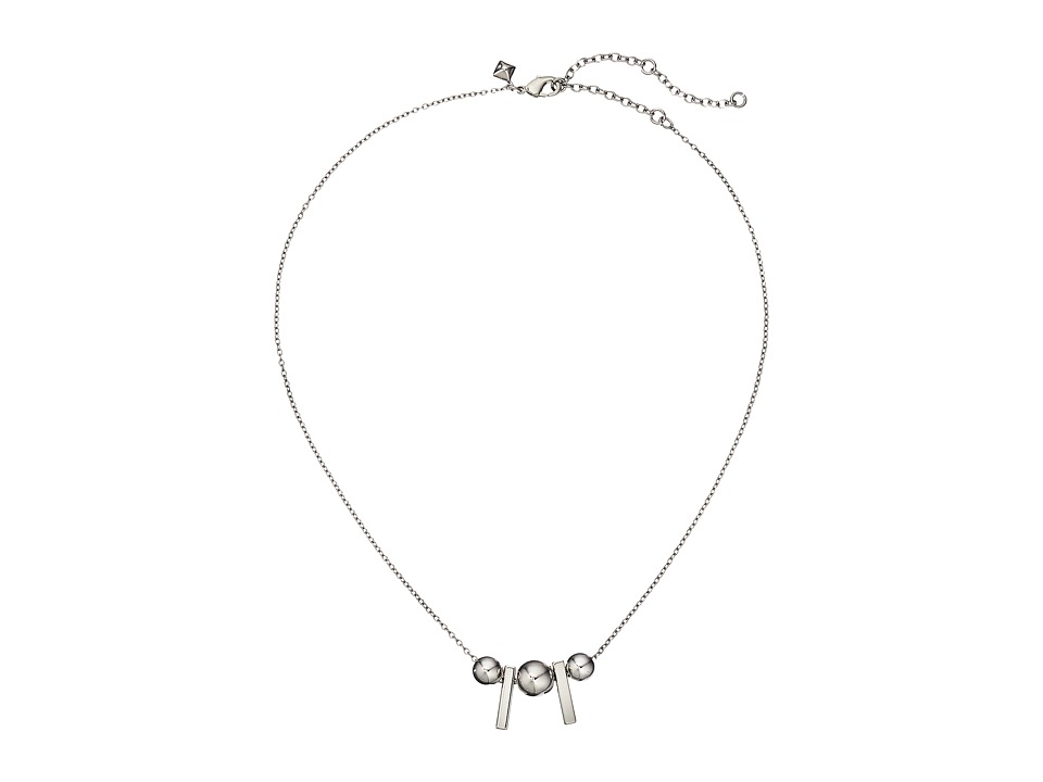 Rebecca Minkoff - Bead/Bar Pendant Necklace (Imitation Rhodium) Necklace