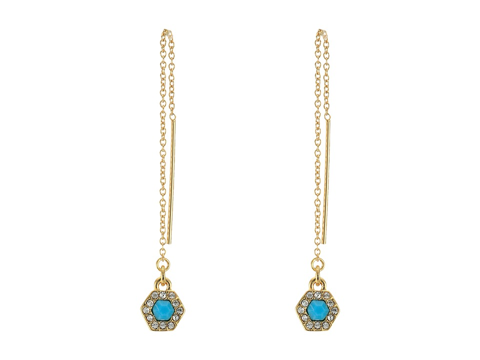 Rebecca Minkoff - Pave Gem Threader Earrings (12K with Turquoise and Crystal) Earring