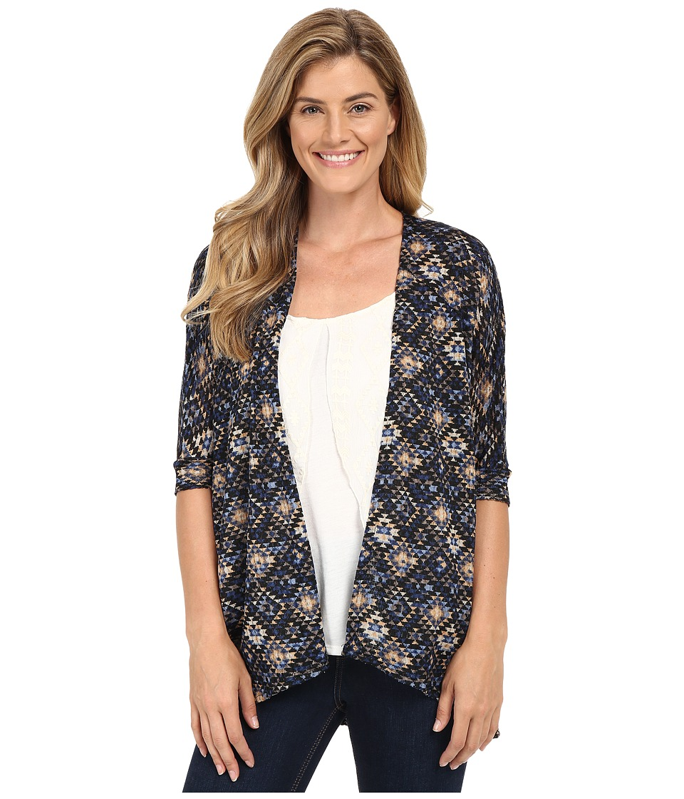 Stetson - Aztec Tapestry Print Short Sleeve Knit Cardigan (Blue) Women's Sweater