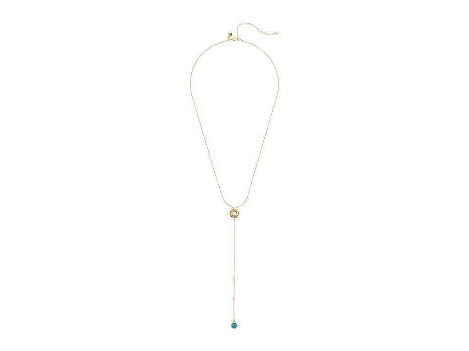 Rebecca Minkoff - Open Cube Y Necklace (12K with Turquoise and Crystal) Necklace