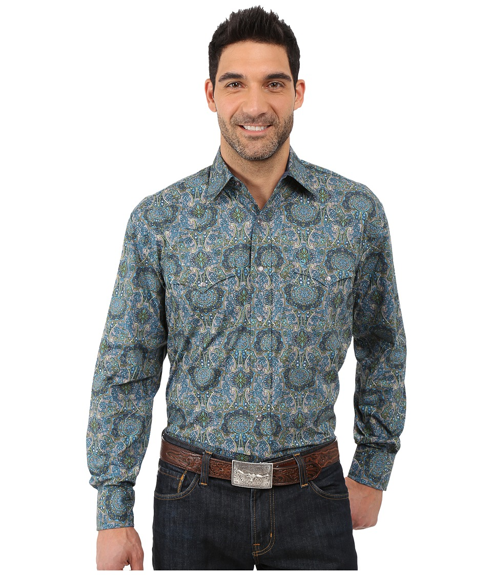 Stetson - French Paisley Long Sleeve Woven Snap Shirt (Grey) Men's Long Sleeve Button Up