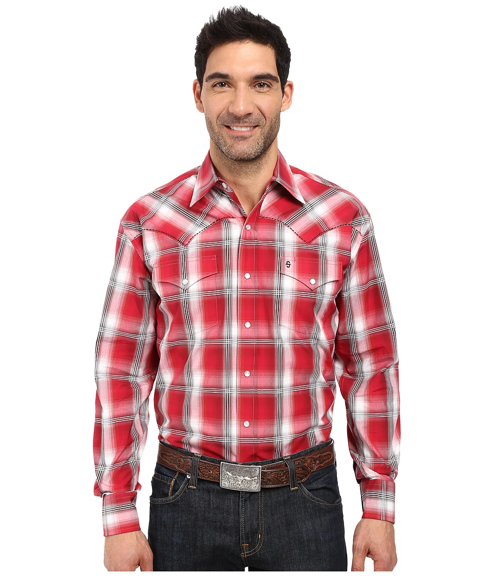 Stetson - Red Barn Ombre Long Sleeve Woven Snap Shirt (Red) Men's Clothing