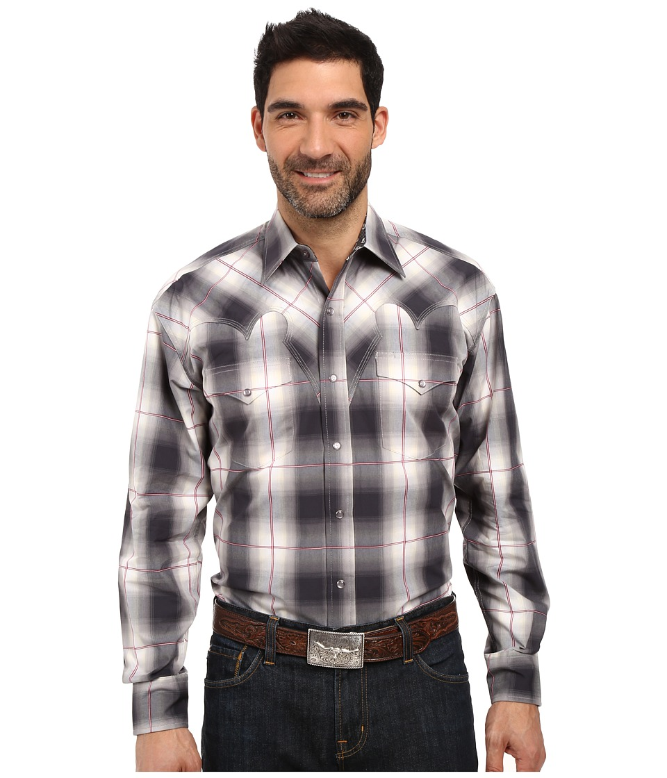 Stetson - Grand Ombre Long Sleeve Woven Snap Shirt (Grey) Men's Clothing