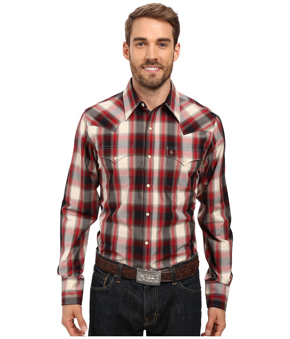 Stetson - Ranch Plaid Dobby Long Sleeve Woven Snap Shirt (Red) Men's Clothing