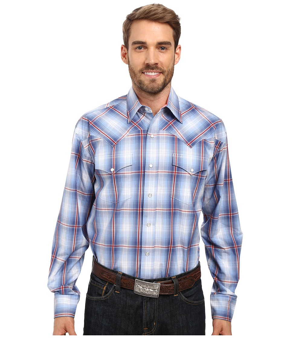 Stetson - Smokey Blue Ombre Long Sleeve Woven Snap Shirt (Blue) Men's Clothing